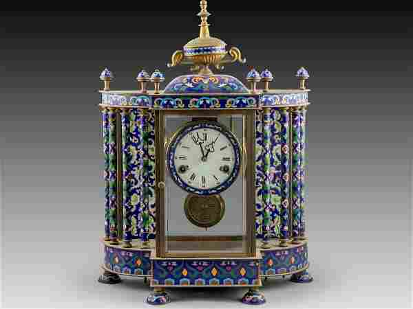 Chinese Cloisonn Mantle Clock
