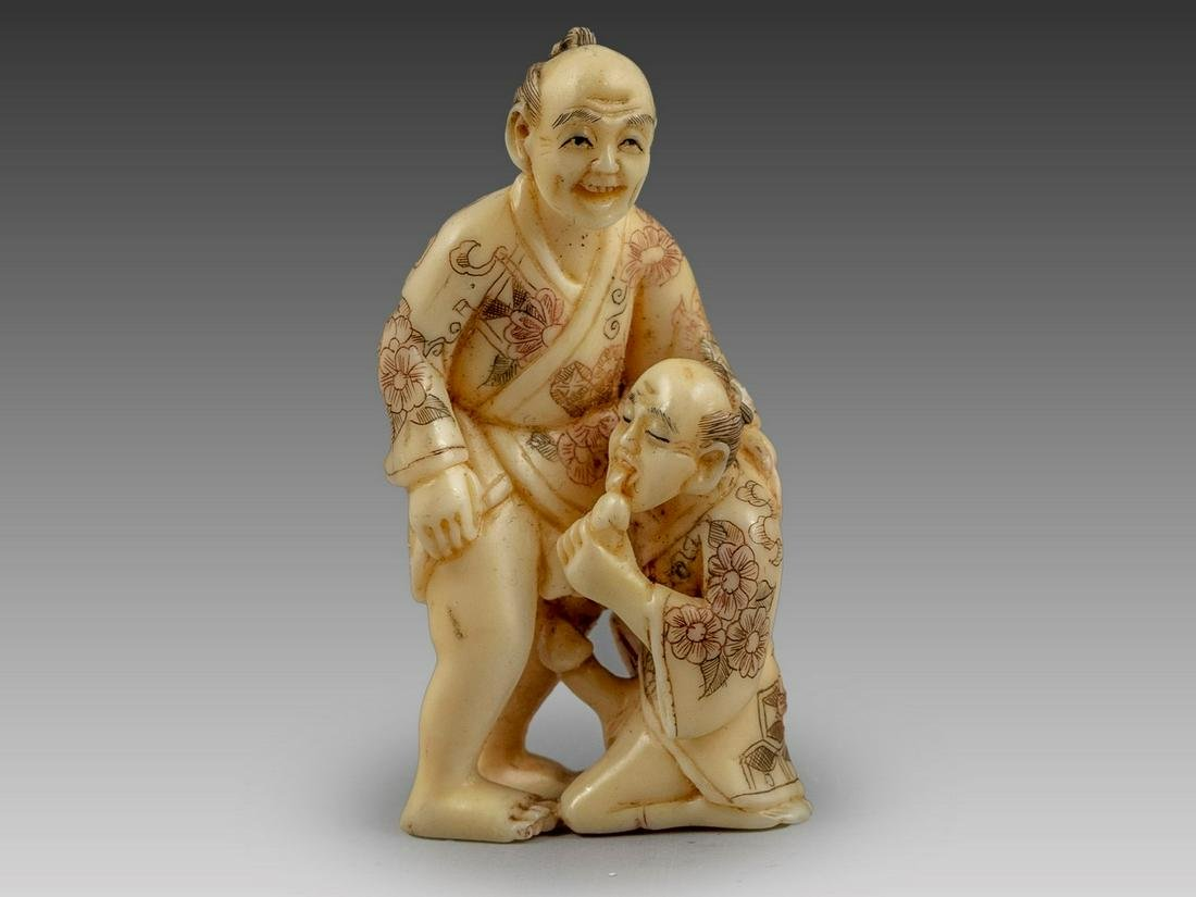 Japanese Erotic Carved Cattle Bone Netsuke