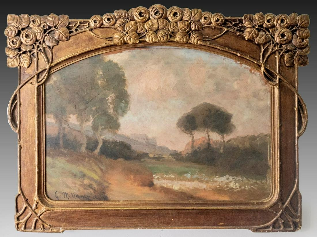 Unidentified Artist, Landscape in Art Nouveau Frame