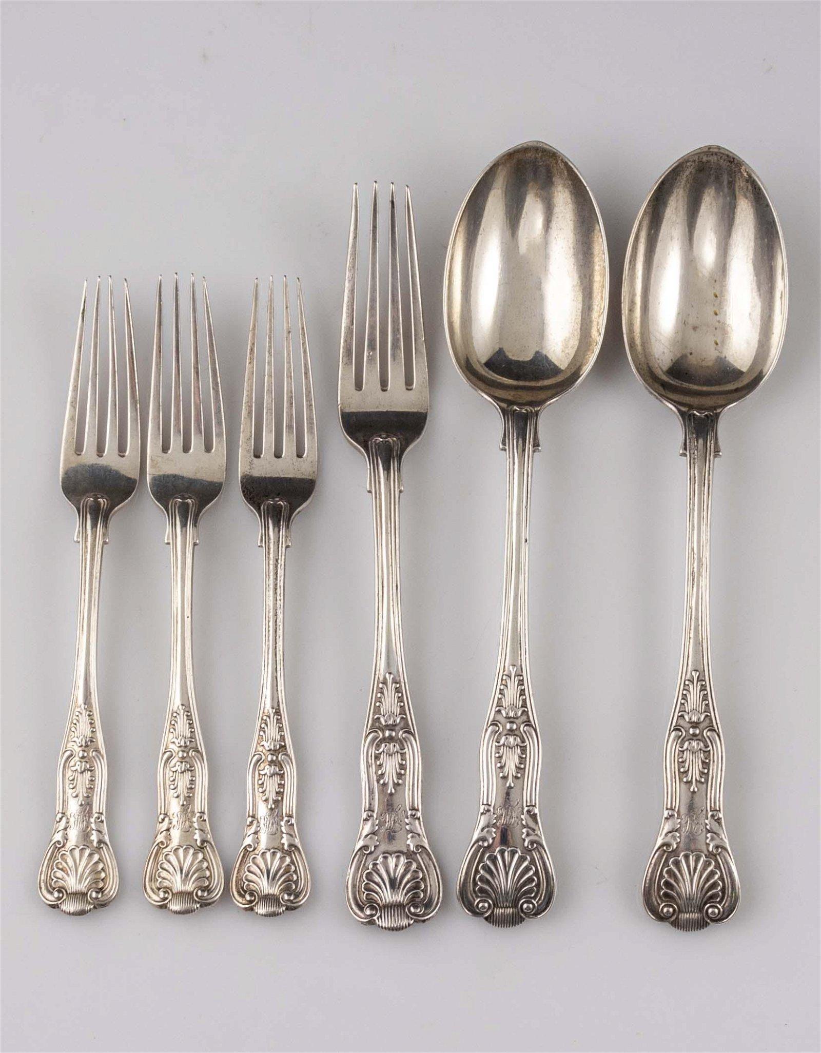 English Silver Cutlery Lot