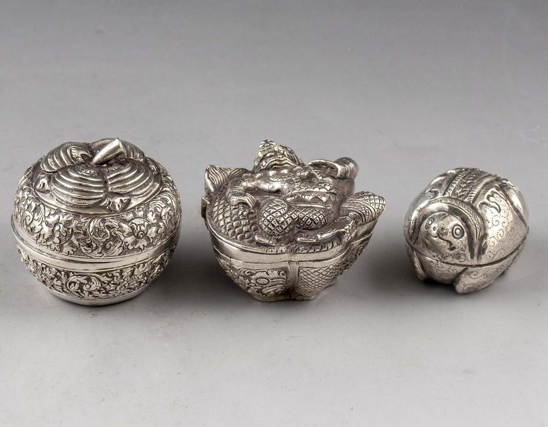 Cambodian Silver Box Lot