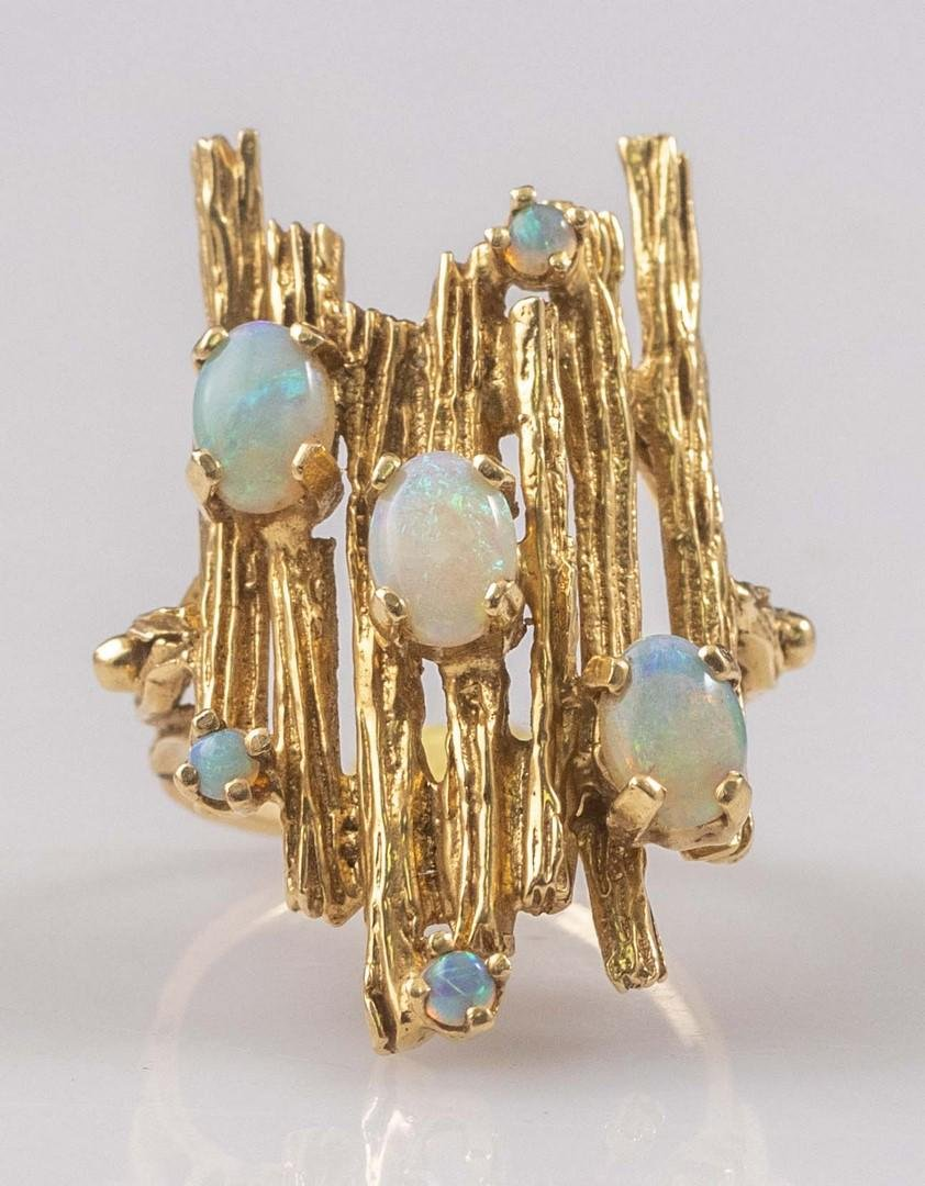Brutalist Gold and Opal Ring