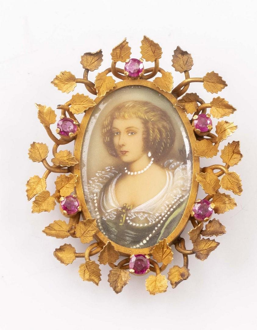 Gold and Ruby Brooch