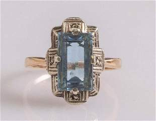 Gold and Aquamarine Ring