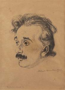 Hermann Struck, Portrait of Albert Einstein Hand Signed