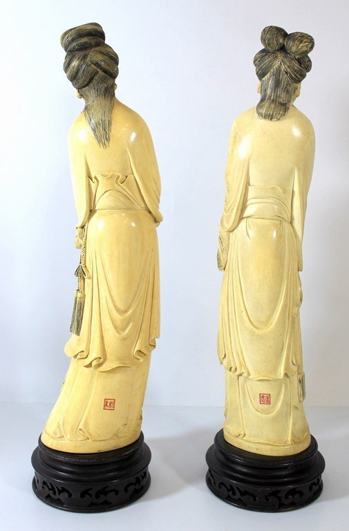 Pair of fine large Japanese ivory figurines - 2