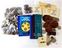 Lot of medals, coins and lapel pins