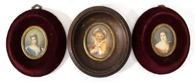 Lot of three European miniature paintings