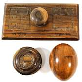 Lot of three Jerusalem olivewood items