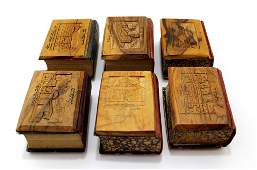 Lot of six Siddurs with Jerusalem Olivewood covers