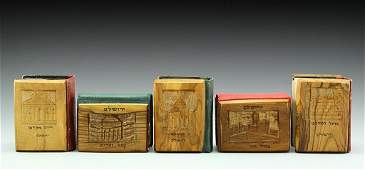 Lot of five Siddurs with Jerusalem Olivewood covers