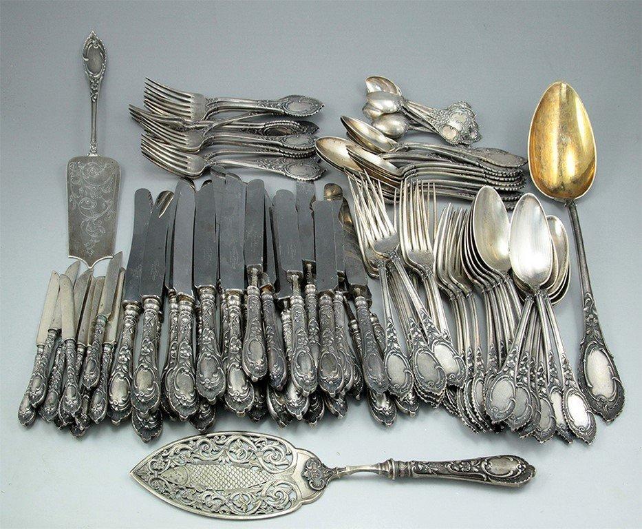 A Gustav Gustavovich Klingert Russian silver cutlery