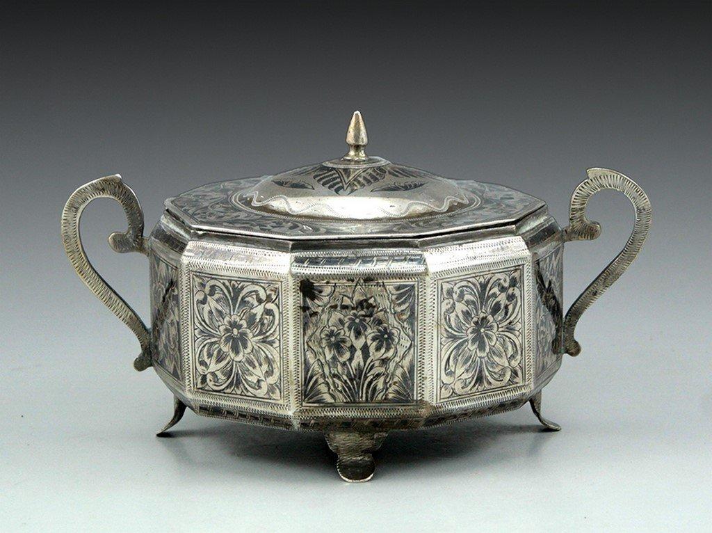 A silver sugar box