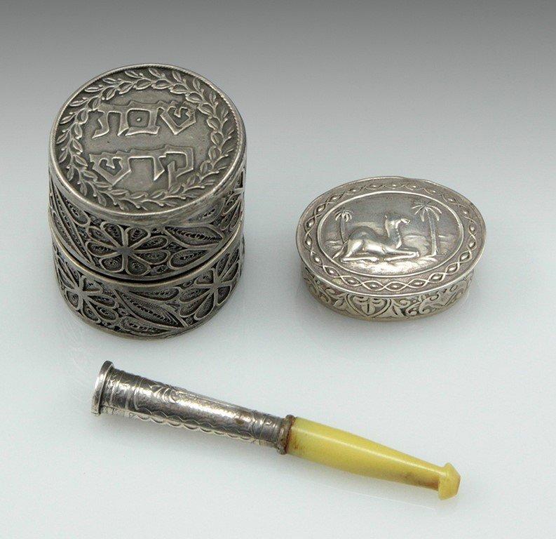 Lot three Israeli silver items