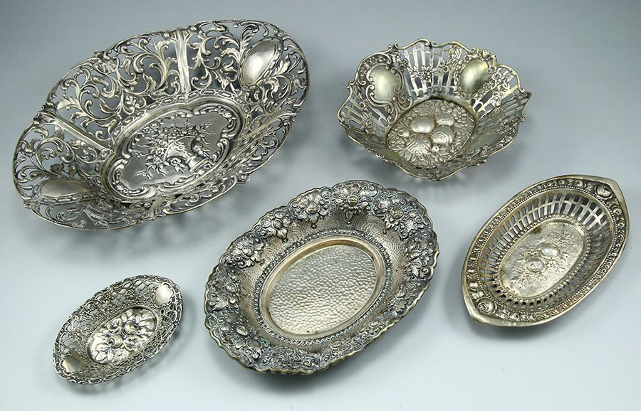 Lot of five silver trays and pin trays