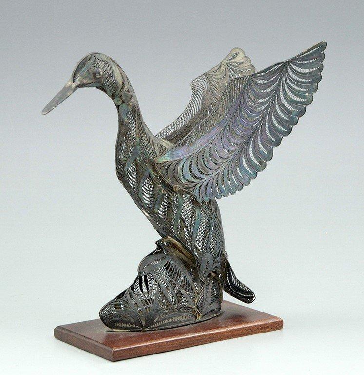 A filigree silver goose