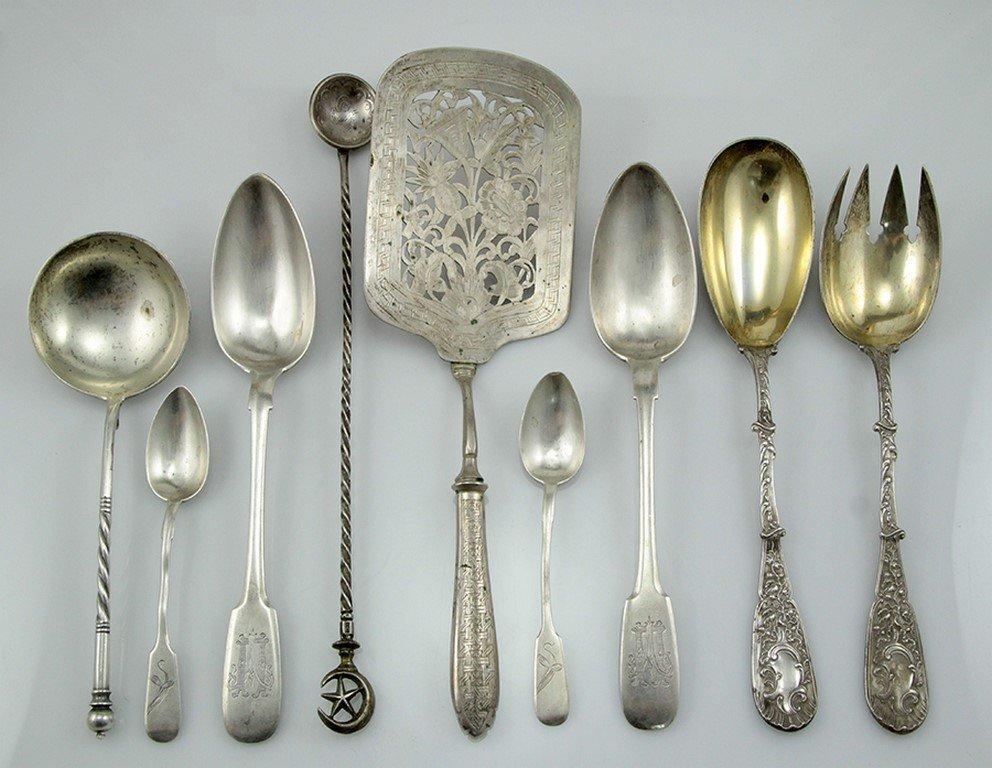 Silver cutlery pieces