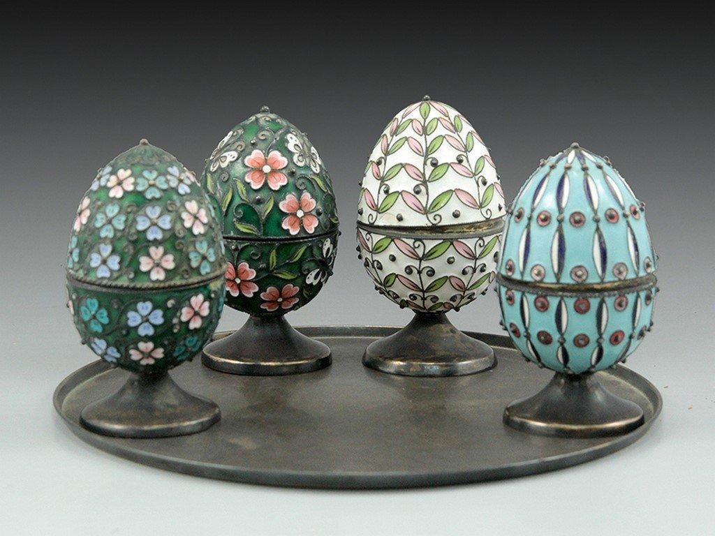 Lot of silver enamel eggs