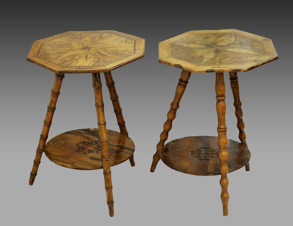 Lot two Jerusalem olive-wood side tables