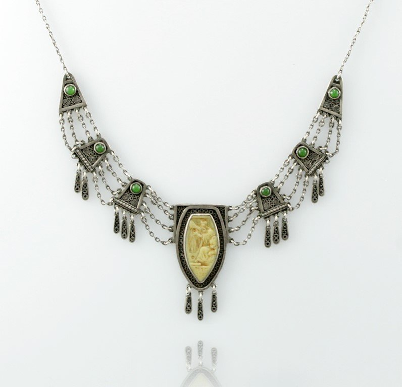 A Bezalel silver and ivory necklace