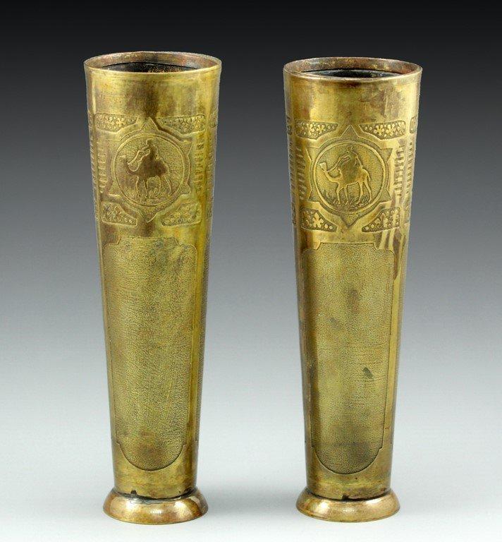 A pair of Bezalel brass vases
