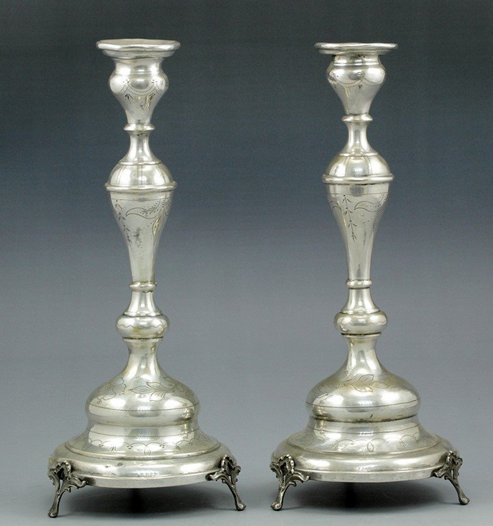 Pair of Austro-Hungarian silver candlesticks