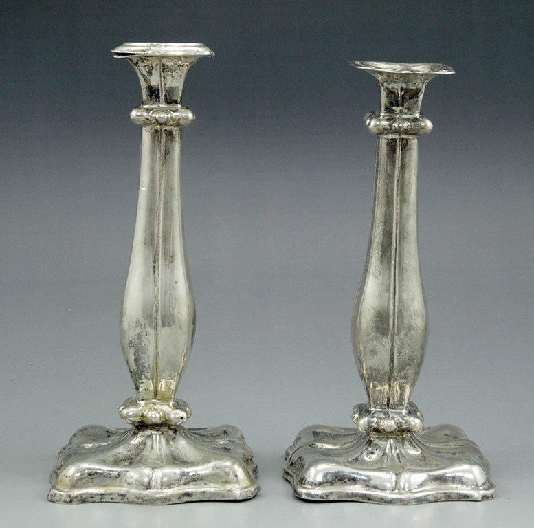 Pair of Alt-Wien silver candlesticks