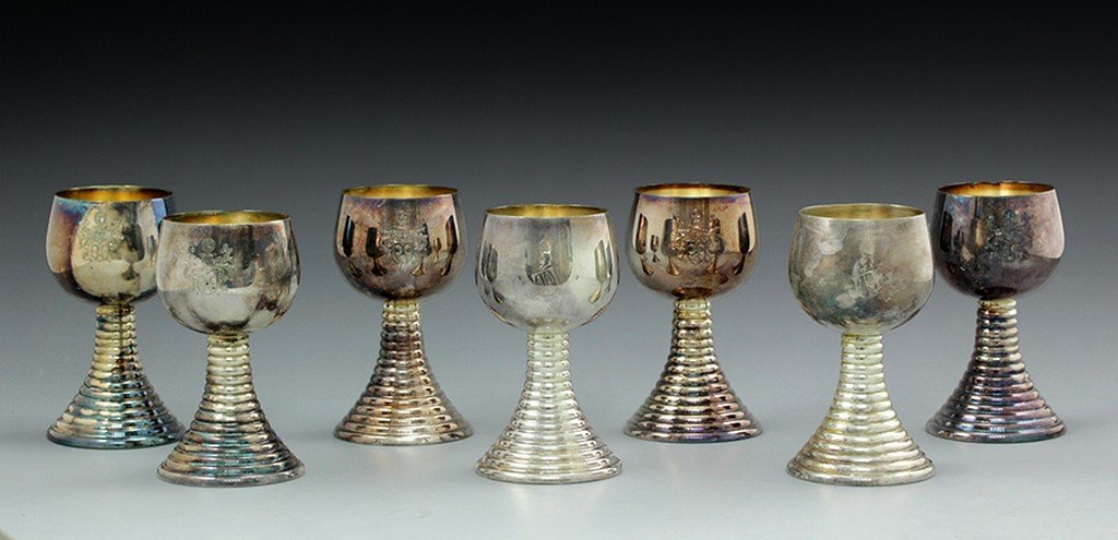 Lot of seven silver goblets