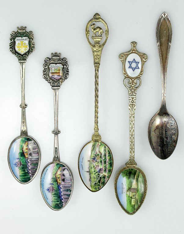 Lot of five teaspoons, souvenir from Jerusalem