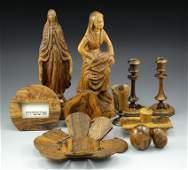 Lot of Jerusalem olive wood items