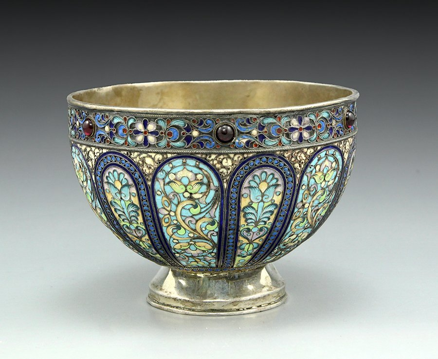 Russian silver and shaded enamel bowl