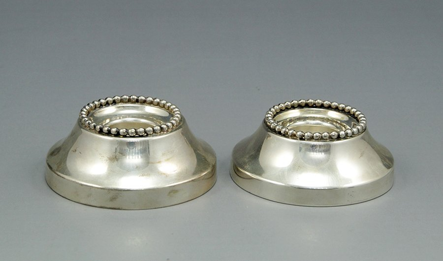Pair of silver Shabbat candlesticks by Bier