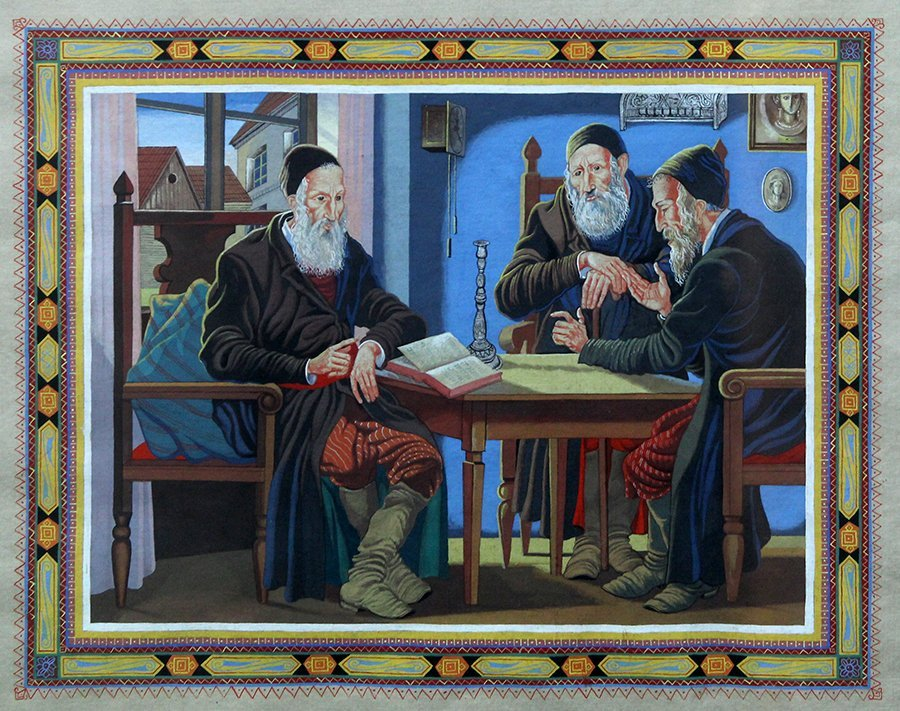 Unknown artist, Jewish men learning