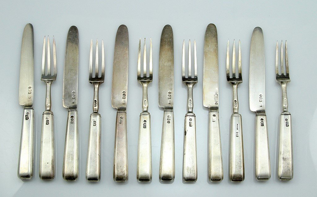 Set of six antique British silver knives and forks