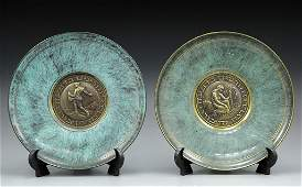 Pair of two brass plates by Pal-Bell, Israel