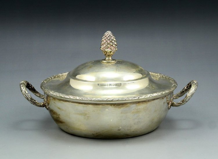 German Neoclassical silver lidded bowl