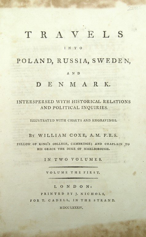 William Coxe, Travels into Poland, Russia, Sweden, - 2