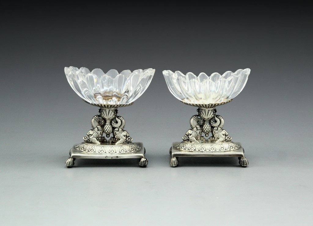 Pair of Silver and Glass Salt Cellars