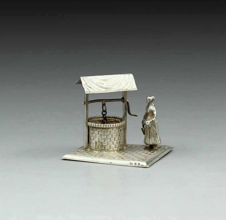 Silver Miniature - Woman Getting Water from Well