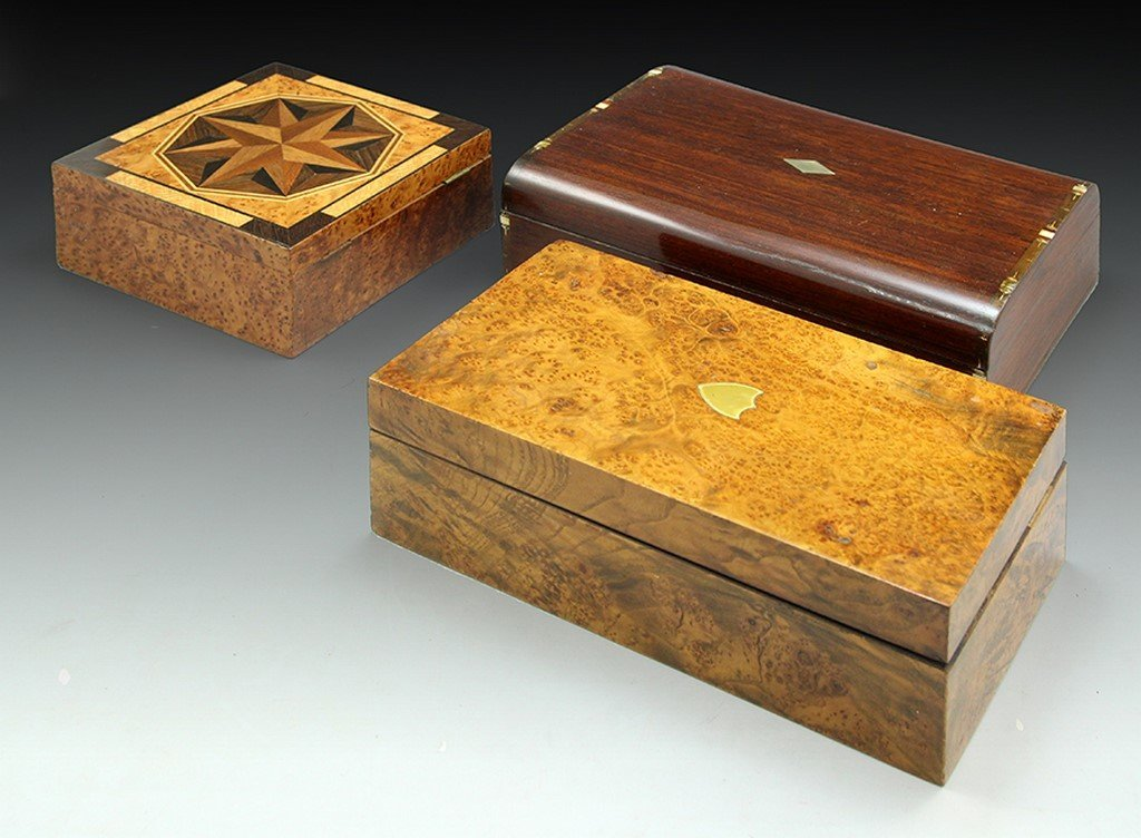 Lot of 3 Vintage Wooden Boxes