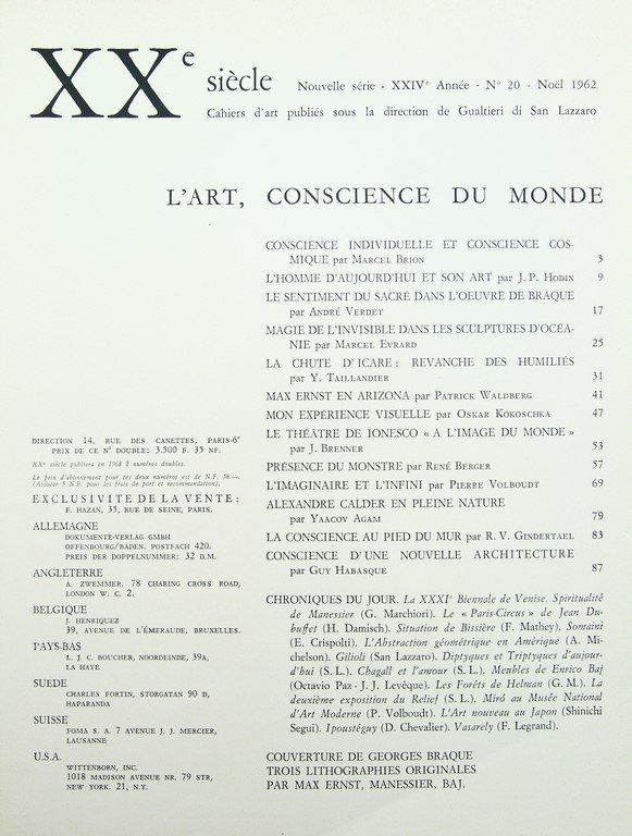 Issue 20 of  XXe Siècle, 1962