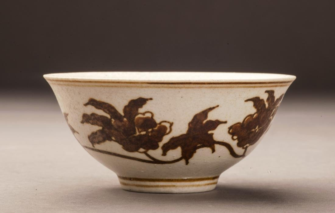 Ming Style Iron Red Flower Pattern Bowl