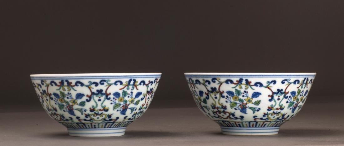 Doucai Contrasting Flower Porcelain Bowl