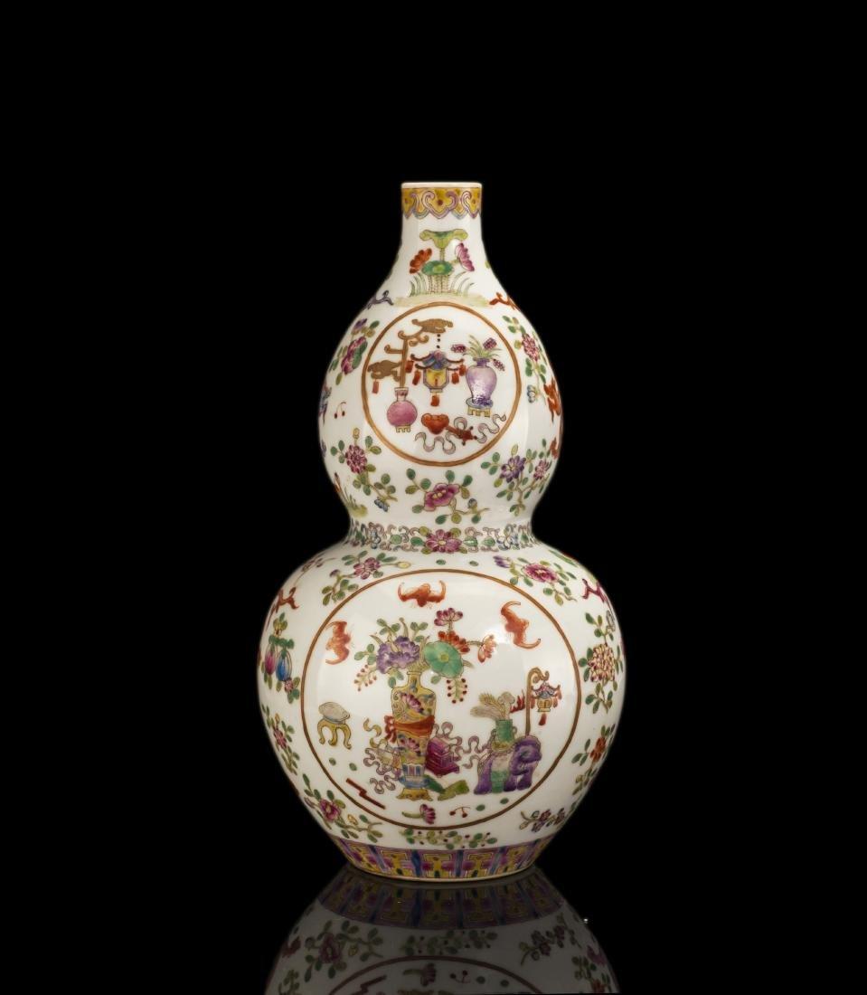 18thc Qing Qianlong Style Gourd-shaped  Vase