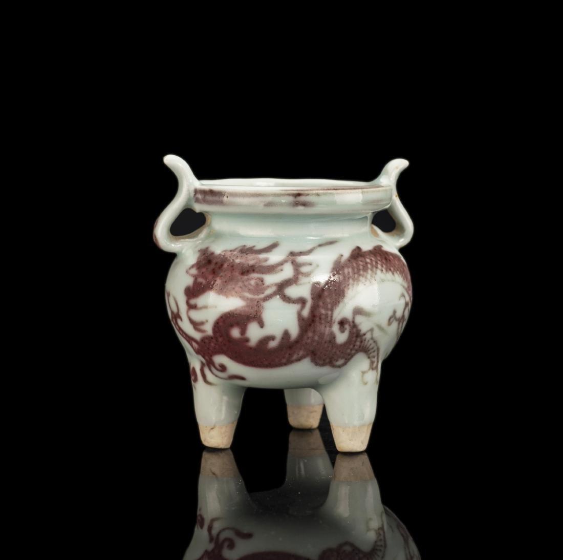 Iron Red Glazed Porcelain Incense Burner