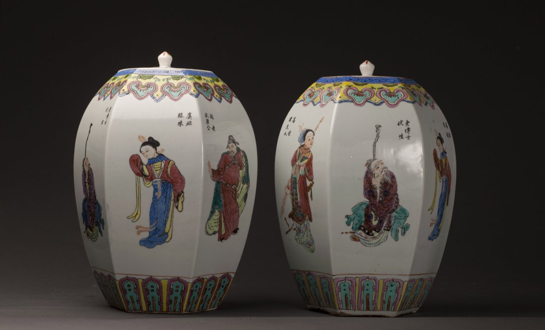 Pair Of  Hexagonal Vases 20c