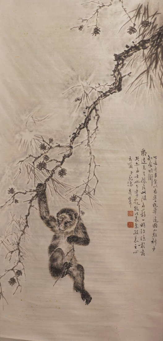 19thC Watercolor and Ink Monkey Painting