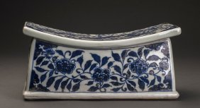 Ming Style Blue And White Porcelain Pulse Pillow