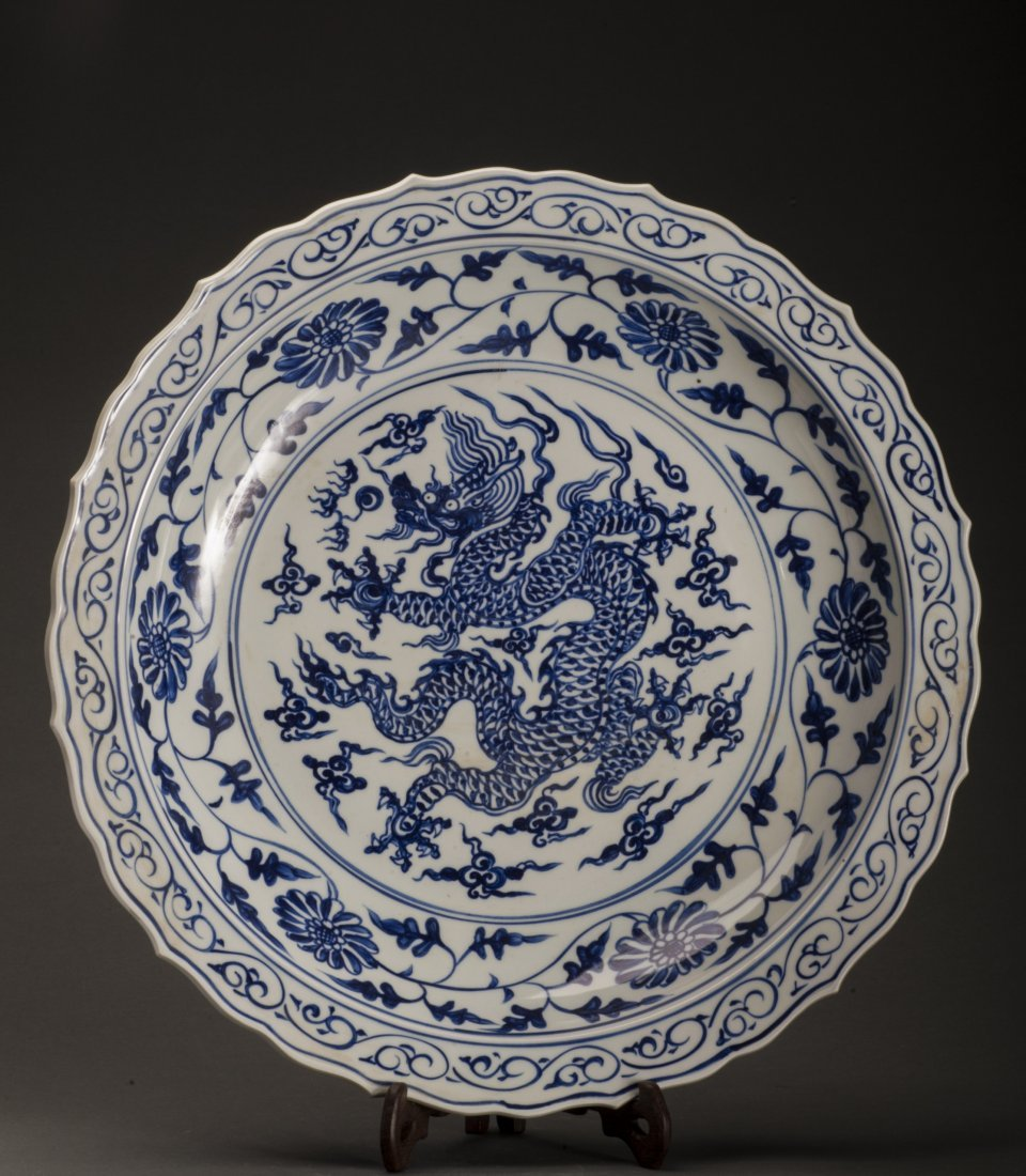 Antique Huge Blue And White Porcelain Charger