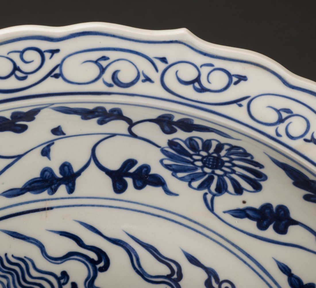 Antique Huge Blue And White Porcelain Charger - 6